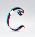 Fantasy plastic 3d glowing ribbon typeface vector