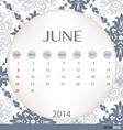 2014 calendar vintage calendar template for june vector