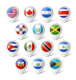 Map pointers with flags north america vector