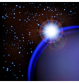 Space background with blue planet and stars vector