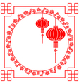 Chinese paper cutting motif chinese lantern vector