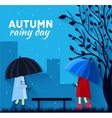 Girl and boy with umbrella in a autumn raining day vector