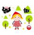 Red riding hood icons vector