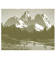 Woodcut mountain lake scene vector
