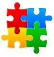 Four color puzzle background vector