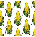 Seamless pattern of cartoon corn on the cob vector