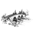 Stone bridge over river sketch vector