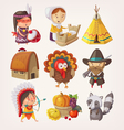 Set of thanksgiving items and characters vector