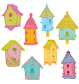 Colorful bird houses vector