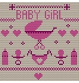 Baby girl knitted background vector