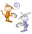 Cat and rabbit vector