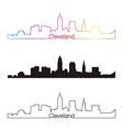 Cleveland skyline linear style with rainbow vector