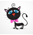 Black cat kitten with blue eyes and pink bow tie vector