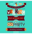 Wedding invitation card template in retro style vector