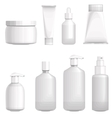 Set with different cosmetic bottles no gradients vector