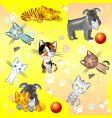 Kittens and dog vector