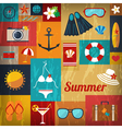 Summer retro flat background vector