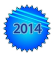 Big blue button labeled 2014 vector