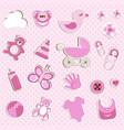 Scrapbook set of baby girl things vector