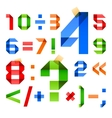 Font folded from colored paper - arabic numerals vector