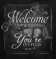 Wedding invitation chalk vector