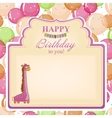 Childrens congratulatory background with a pink vector
