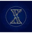 Vintage floral alphabet letter x vector