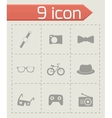 Black hipster icons set vector