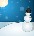 A christmas snowman scene with trees covered in vector