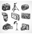 Camera sketch icons set vector