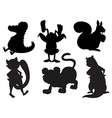 Silhouettes of animals in gray and black colors vector