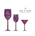 Textured christmas stars three wine glasses vector