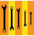 Stainless steel spanners silhouette vector