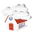 House with clouds vector