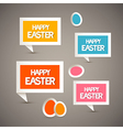 Retro paper tags with happy easter title and eggs vector