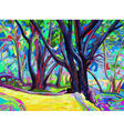 Original digital painting of spring landscape vector