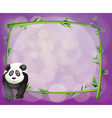 A big panda beside an empty bamboo frame vector