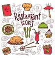 Restaurant icons doodle symbols sketch vector