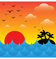 Island in sea waves at evening time sunsky and vector