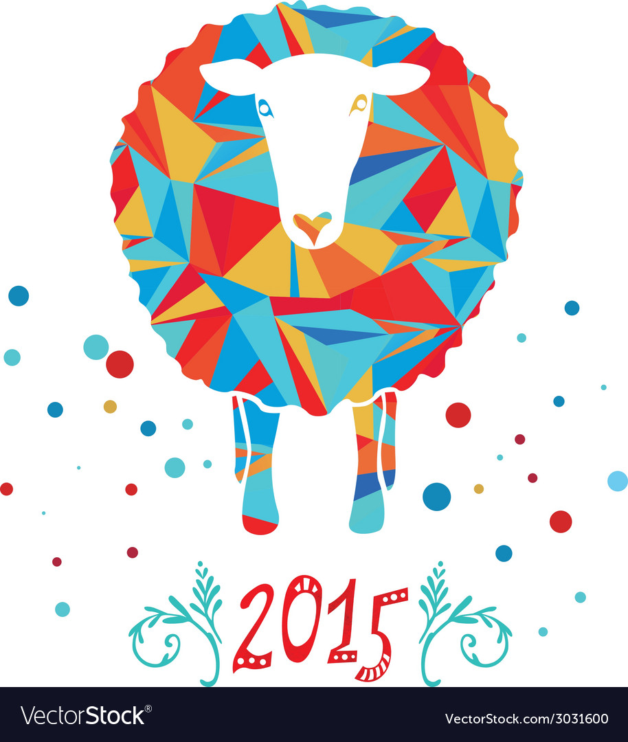 Card with sheep and 2015 vector | Price: 1 Credit (USD $1)