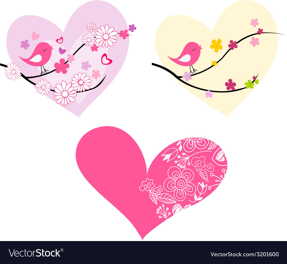 Cute birds hearts and flowers vector | Price: 1 Credit (USD $1)