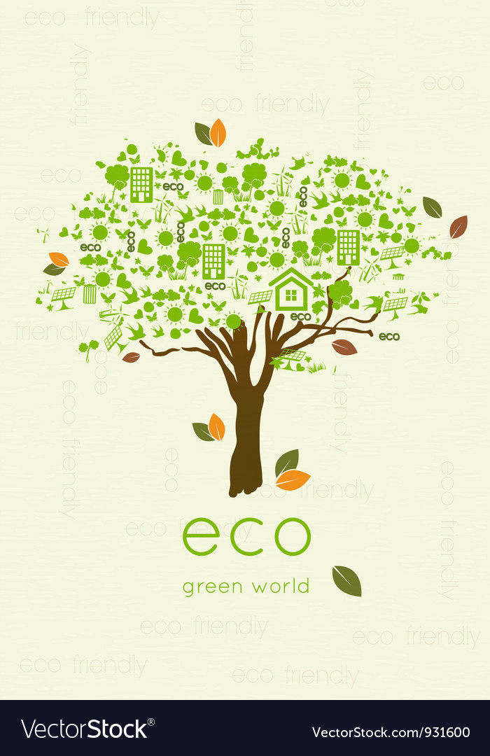 Eco friendly tree vector | Price: 1 Credit (USD $1)