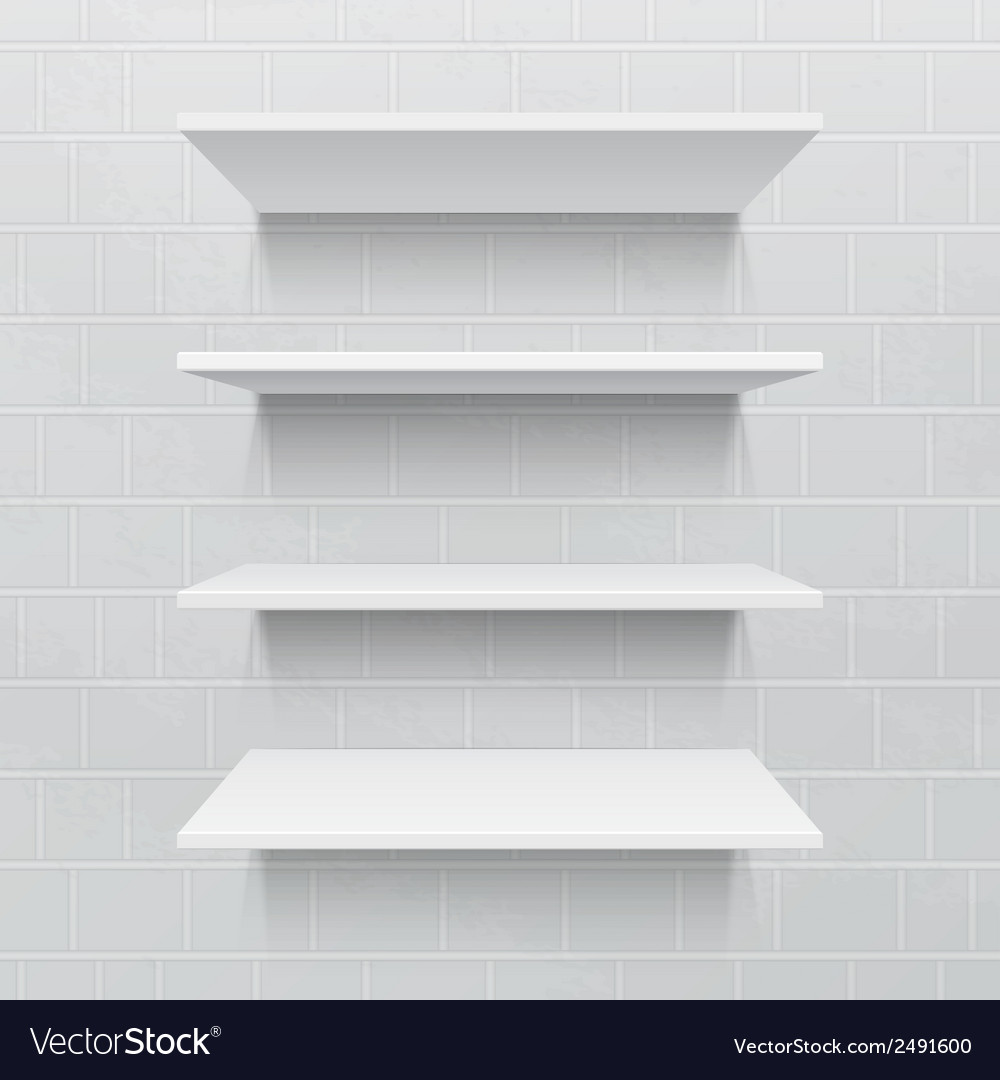 Four white realistic shelves against brick wall vector | Price: 1 Credit (USD $1)