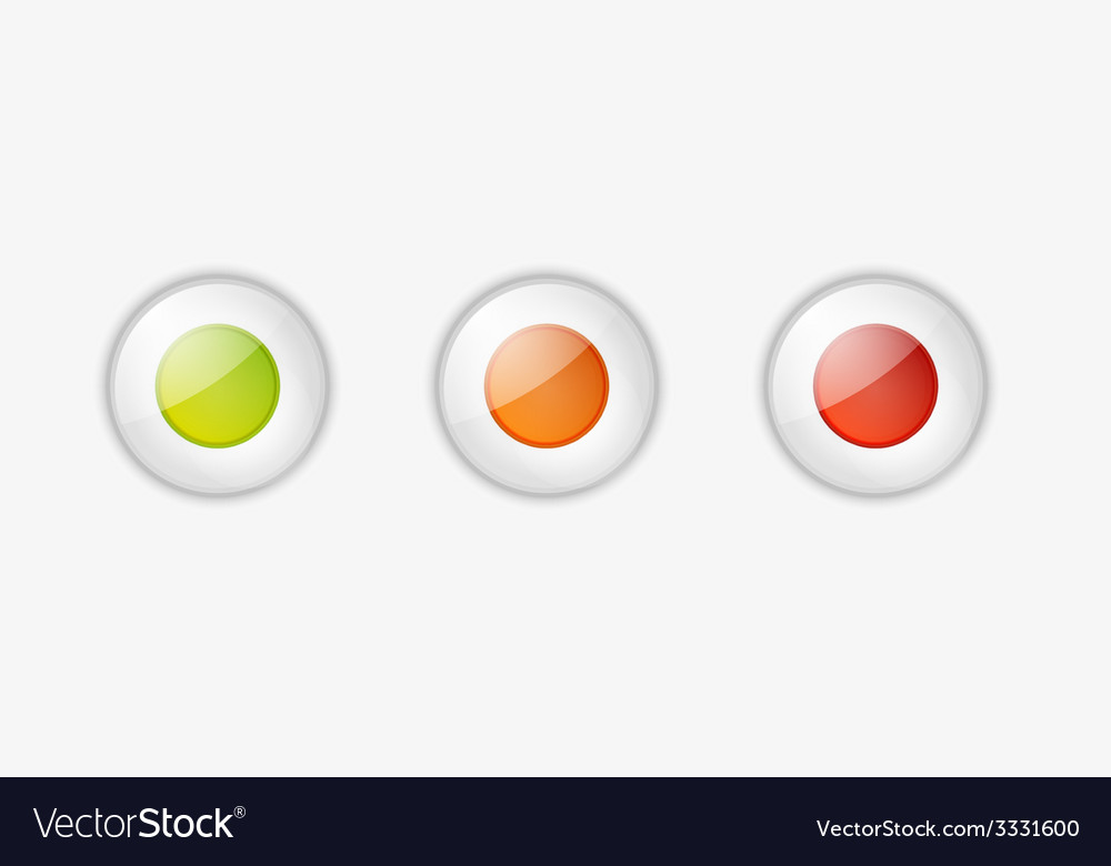 Light buttons with green orange and red color vector | Price: 1 Credit (USD $1)