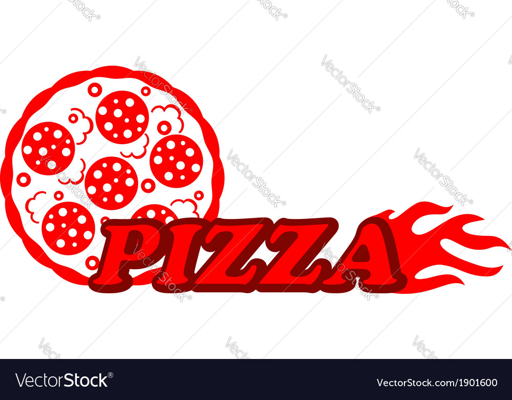 Red hot pizza label vector | Price: 1 Credit (USD $1)