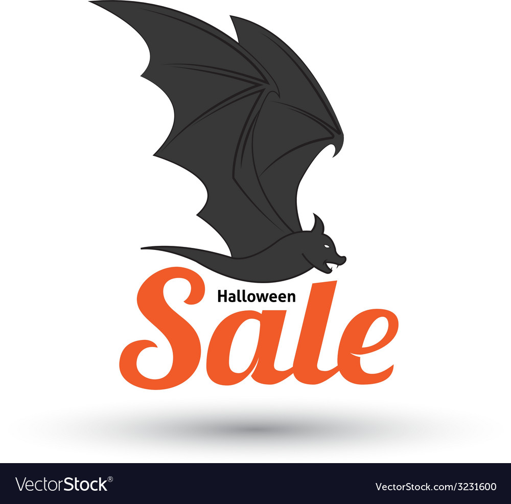 Sale text with bat for halloween vector | Price: 1 Credit (USD $1)