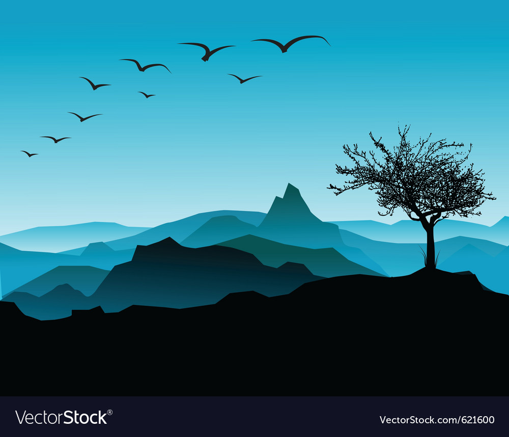 Tree with mountains vector | Price: 1 Credit (USD $1)