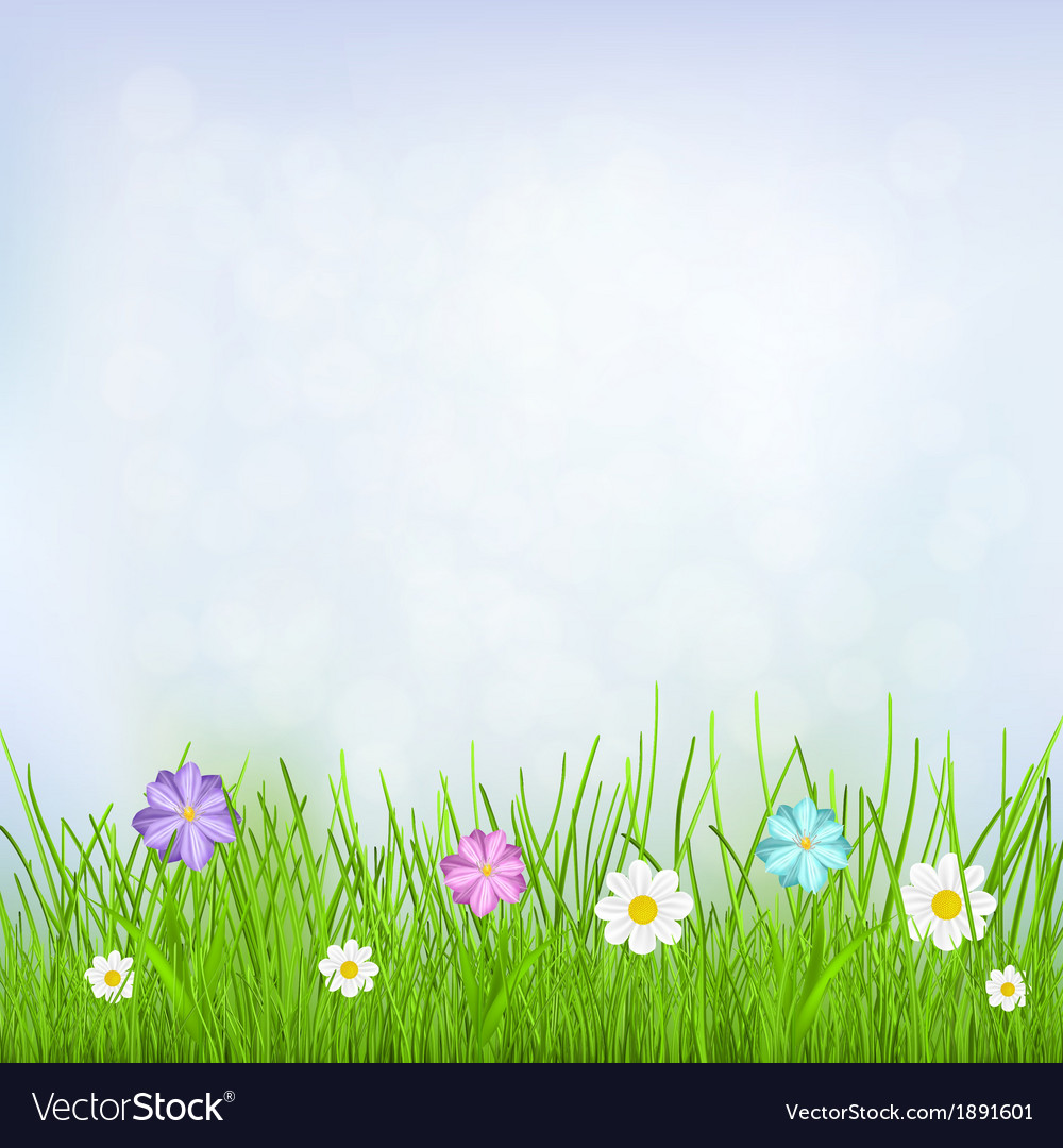 Background with sky grass and flowers vector | Price: 1 Credit (USD $1)
