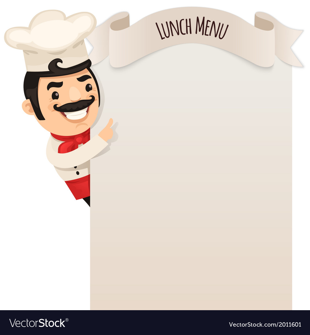 Male chef looking at blank menu vector | Price: 1 Credit (USD $1)