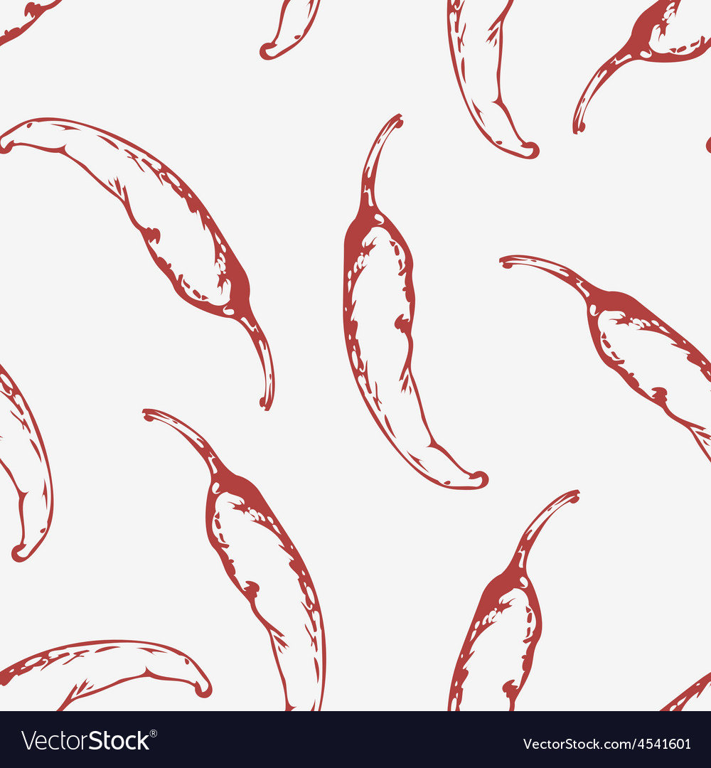 Outline seamless pattern with hand drawn chili vector | Price: 1 Credit (USD $1)